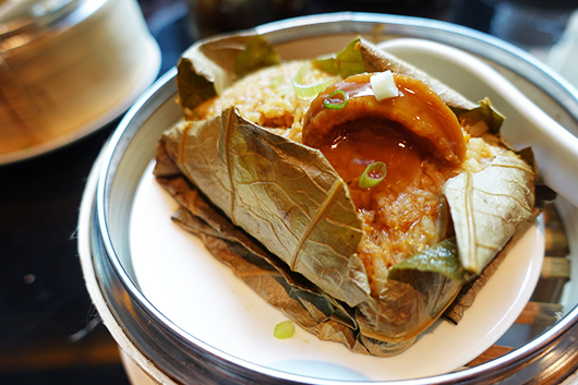 Fovea fried rice with abalone in lotus leaf